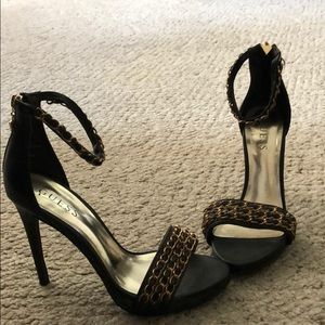 Gold and Black Guess heels